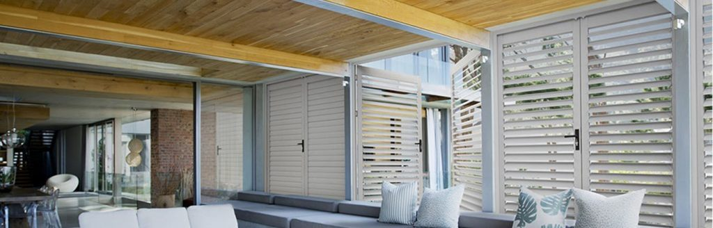 Stone Coloured Ambient Aluminium Shutters Outdoor