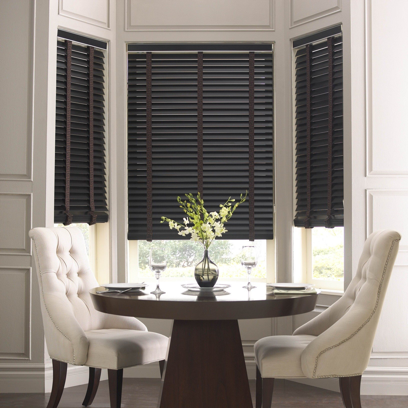 Elegant And Modern Black And Grey Ambient Venetian Basswood Blinds Ambient Sa